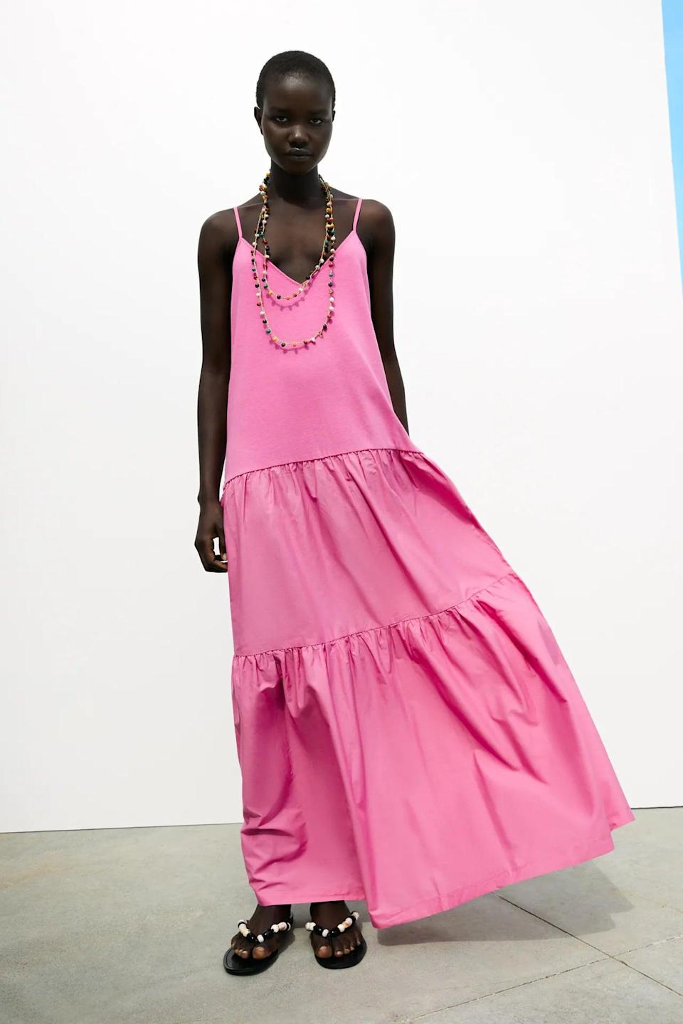 <p>This <span>Zara Long Tiered Dress</span> ($40) will help you step into any space with style and aplomb. It's a bright, head-turning piece that will pair well with slide sandals and low-heeled mules alike.</p>