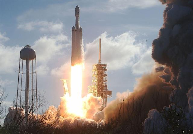 SpaceX's Falcon Heavy takes off making it the most powerful operation rocket in the world. (Bloomberg)
