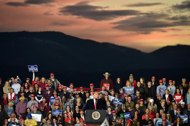 President Donald Trump addresses an outdoor rally in Missoula, Montana on October 18, 2018 (AFP Photo/Nicholas Kamm)