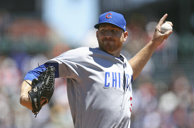 Chicago Cubs pitcher Mike Montgomery works against the San Francisco Giants in the first inning of a baseball game Wednesday, July 11, 2018, in San Francisco. (AP Photo/Ben Margot)