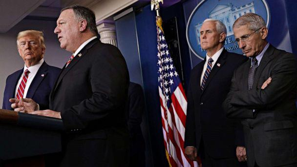 PHOTO: Secretary of State Mike Pompeo speaks during a briefing on the latest development of the coronavirus outbreak in the U.S. at the White House, March 20, 2020, in Washington. (Alex Wong/Getty Images)