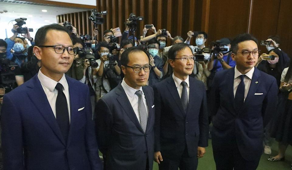 (Left to right) Lawmakers Dennis Kwok, Kenneth Leung, Kwok Ka-ki and Alvin Yeung were summarily ousted from the Legislative Council on Wednesday. Photo: Dickson Lee