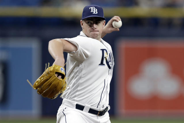 Tampa Bay Rays' Brendan McKay pitches to the Seattle Mariners during the first inning of a baseball game, Monday, Aug. 19, 2019, in St. Petersburg, Fla. (AP Photo/Chris O'Meara)