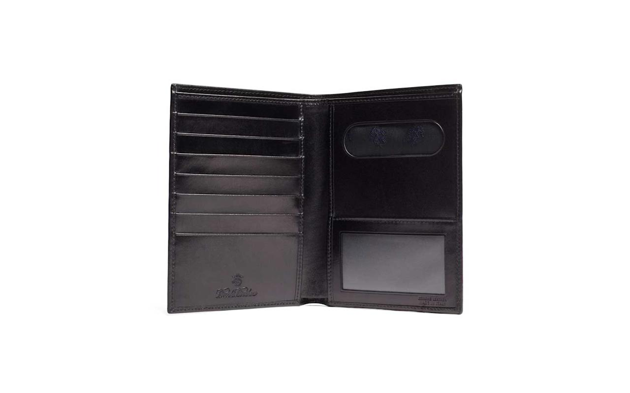 """<p>Simple black leather never goes out of style, and this passport holder was built to last. Made of genuine French calfskin, it features the company's signature golden fleece lining, a plastic ID window, and seven card slots.</p> <p>To buy: <a href=""""http://www.anrdoezrs.net/links/7876402/type/dlg/sid/TL%2CLeatherPassportHoldersThatAreMadetoLast%2Cszypulsr%2CTRA%2CGAL%2C666640%2C201910%2CI/http://www.brooksbrothers.com/French-Calfskin-Passport-Case/854F,default,pd.html"""" target=""""_blank"""">brooksbrothers.com</a>, $248</p>"""