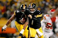 "Two sources indicated that Steelers quarterback Ben Roethlisberger suffered a separated shoulder in Pittsburgh's Monday night's 13-10 overtime win over the Kansas City Chiefs. Roethlisberger was taken to a Pittsburgh hospital for an MRI exam, according to his agent, Ryan Tollner. In addition, one source indicated that the injury is ""unusual,"" although it's unclear if that is good or bad news. (Photo by Gregory Shamus/Getty Images)"