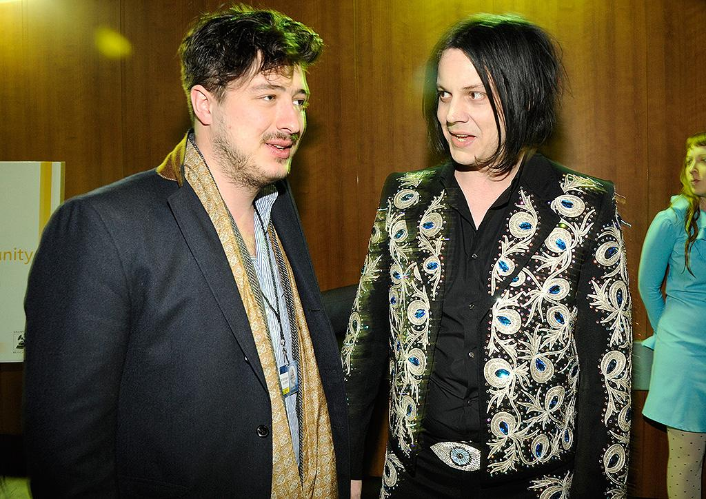 LOS ANGELES, CA - FEBRUARY 10:  Marcus Mumford and Jack White attend  the 55th Annual GRAMMY Awards at STAPLES Center on February 10, 2013 in Los Angeles, California.  (Photo by Kevin Mazur/WireImage)