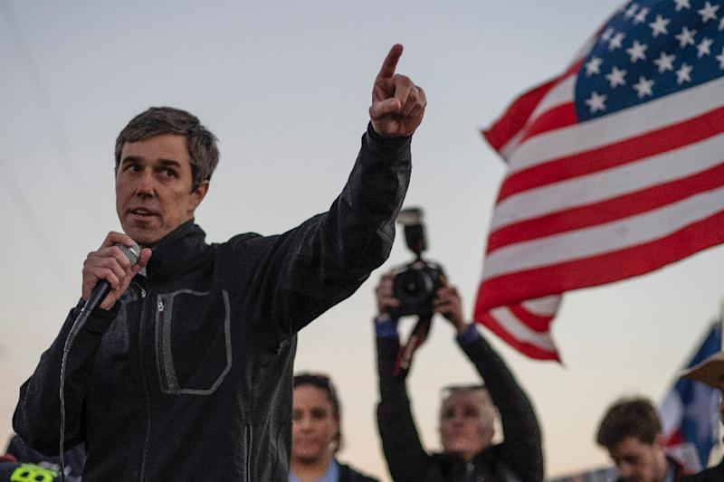Beto O'Rourke, an ex-punk musician who sometimes went skateboarding to blow off steam on the Texas campaign trail, has been tipped to quickly achieve rockstar status with a run for president (AFP Photo/Paul Ratje)