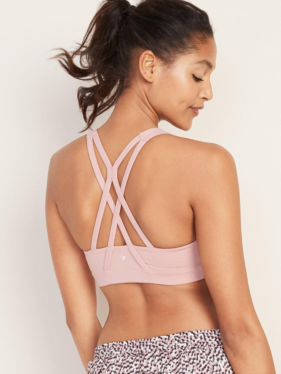 <p>This <span>Old Navy Medium Support Strappy Sports Bra</span> ($15, originally $23) is the perfect option for almost any type of workout.</p>