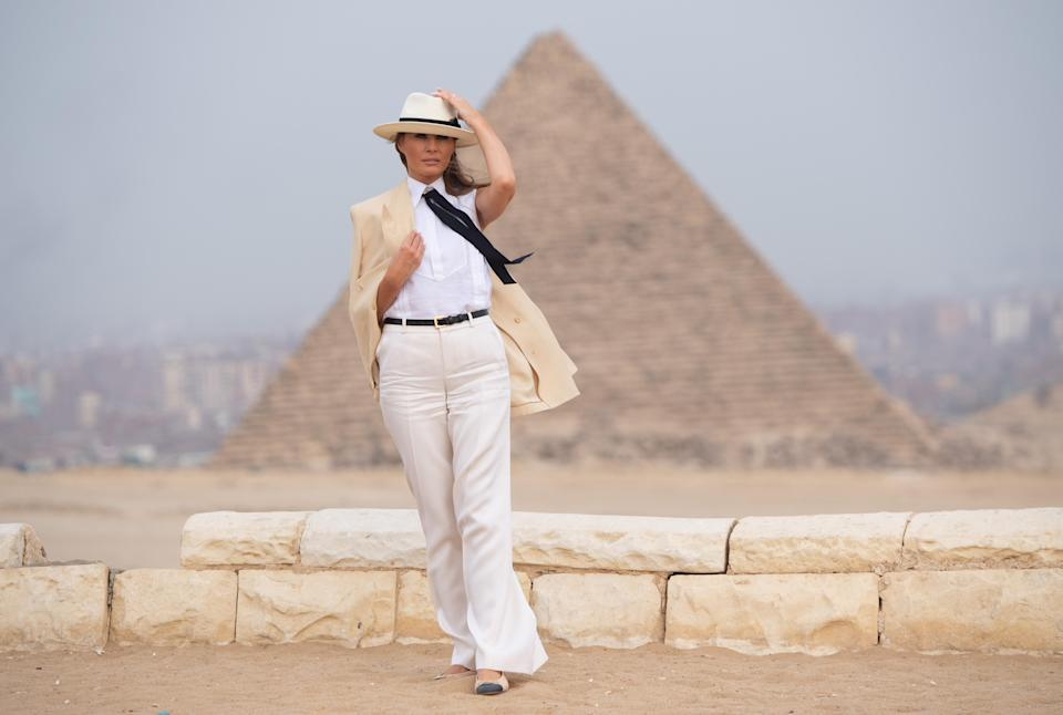 The outfit Melania wore to visit the Giza Pyramids in Egypt raised eyebrows globally. Donning a cream linen blazer, matching wide-legged trousers, a white shirt, black tie and Chanel ballerina pumps, the FLOTUS's look drew many comparisons. Some compared the look to Michael Jackson's Smooth Criminal loko, quipping 'Hey Melania, are you OK?'. Others wondered if it was an attempt at a feminist statement. [Photo: Getty]