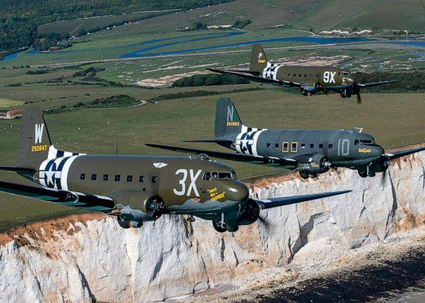 PHOTO: Daks fly over Normandy during event preparation at Beachy Head in southern England. (Charlotte Graham/cover Images via AP, FILE)