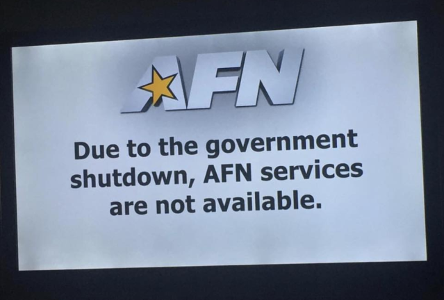 The American Forces Network is unavailable due to the government shutdown. (Photo: @soju_warrior on Twitter)