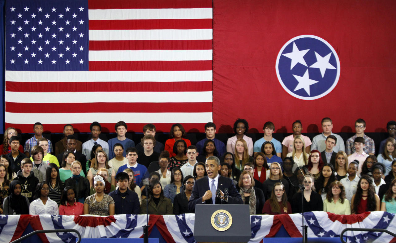 President Barack Obama speaks at McGavock High School on Thursday, Jan. 30, 2014, in Nashville, Tenn. (AP Photo/Wade Payne)