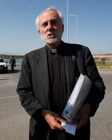 U.S. pastor Bill Devlin talks to media as he arrives at Aliaga Prison and Courthouse complex in Izmir, Turkey July 18, 2018. REUTERS/Kemal Aslan