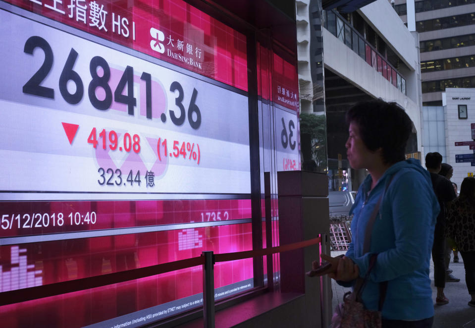 <p> A woman looks at an electronic board showing Hong Kong share index outside a local bank in Hong Kong, Wednesday, Dec. 5, 2018. Shares were moderately lower in Asia on Wednesday following a bloodletting on Wall Street as goodwill generated by a truce between the U.S. and China over trade evaporated in confusion over exactly what the two sides had agreed upon. (AP Photo/Vincent Yu) </p>