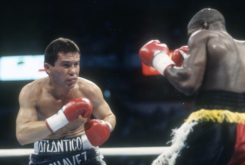 PARADISE, NV - MAY 8: Julio Cesar Chavez fights Terrence Alli for the WBC Welterweight Title on May 8, 1993 at the Thomas & Mack Center in Paradise, Navada. (Photo by Focus on Sport/Getty Images)