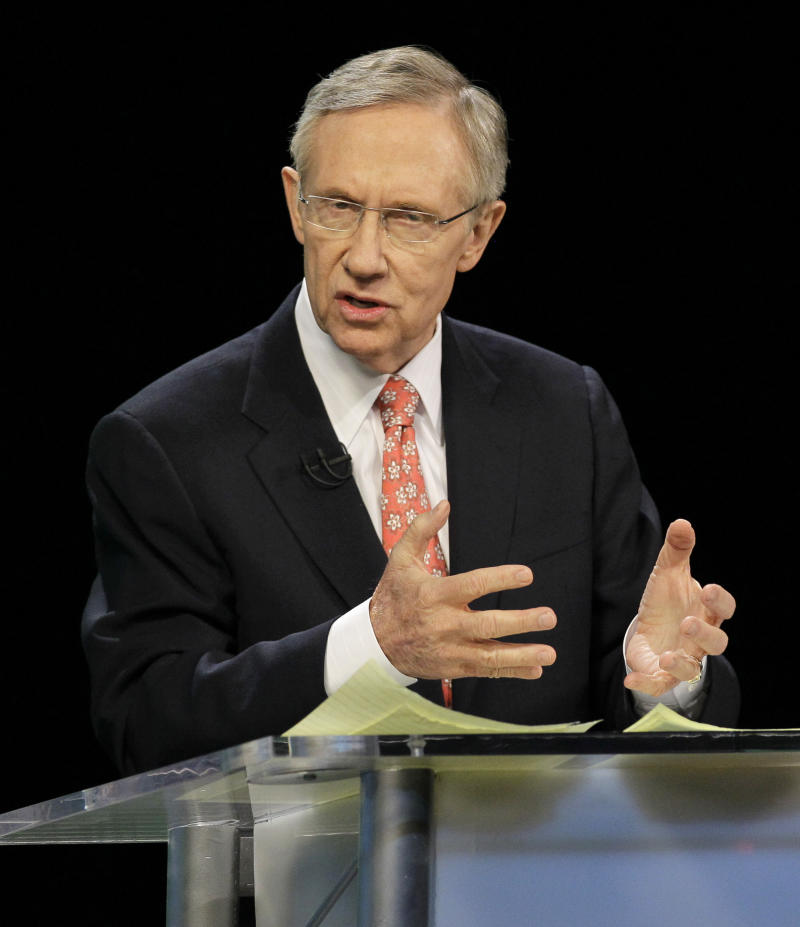 Senate Majority Leader Harry Reid speaks during a televised Nevada Senate debate with Republican Senate candidate Sharron Angle Thursday, Oct. 14, 2010, in Las Vegas.  (AP Photo/Julie Jacobson)