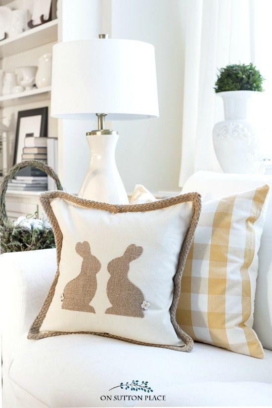 """<p>No sewing skills are necessary to bring this cozy couch accessory to life. </p><p><strong>Get the tutorial at <a rel=""""nofollow noopener"""" href=""""https://www.onsuttonplace.com/diy-burlap-easter-bunny-pillow/"""" target=""""_blank"""" data-ylk=""""slk:On Sutton Place"""" class=""""link rapid-noclick-resp"""">On Sutton Place</a>. </strong></p><p><strong><a rel=""""nofollow noopener"""" href=""""https://www.amazon.com/Fabric-Editions-MDGB-BUR5-24-Inch-Natural/dp/B004BPEAWO/"""" target=""""_blank"""" data-ylk=""""slk:SHOP BURLAP"""" class=""""link rapid-noclick-resp"""">SHOP BURLAP</a><br></strong></p>"""