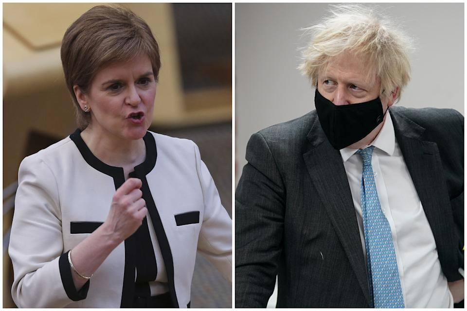 Nicola Sturgeon has not ruled out shutting the border with England if an agreement is not made about quarantining. (PA)