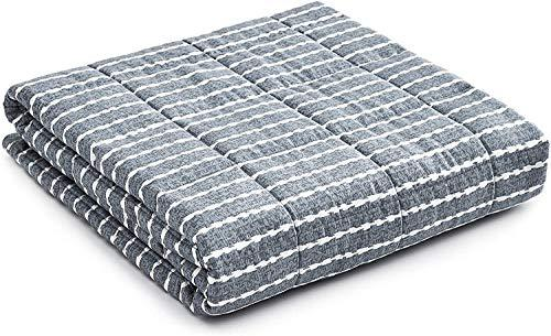 YnM Weighted Blanket -- Heavy 100% Oeko-Tex Certified Cotton Material with Premium Glass Beads (Dark Grey, 60''x80'' 20lbs), Suit for One Person(~190lb) Use on Queen/King Bed (Amazon / Amazon)