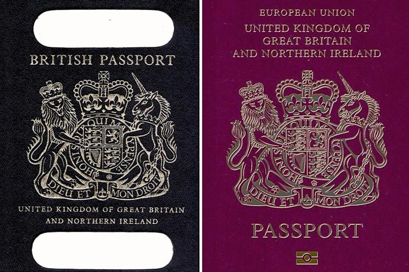 Time to change? An old British passport and a burgundy UK passport in the European Union: PA