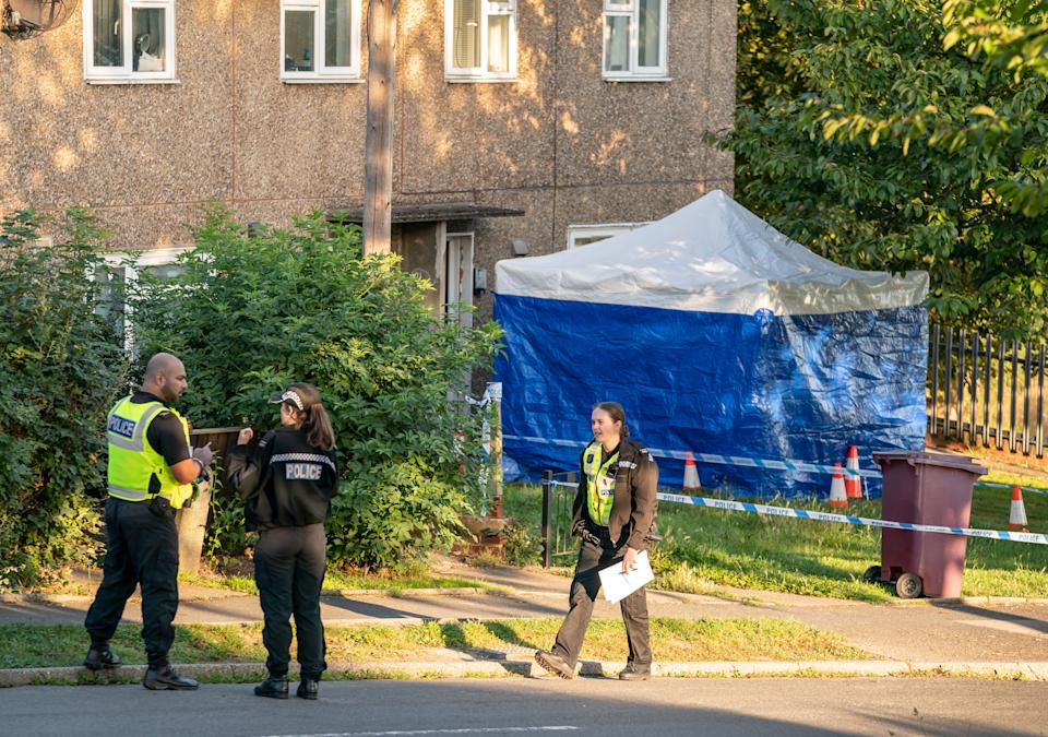 The scene in Chandos Crescent in Killamarsh, near Sheffield, where four people were found dead at a house on Sunday. Derbyshire Police said a man is in police custody and they are not looking for anyone else in connection with the deaths. Picture date: Monday September 20, 2021.