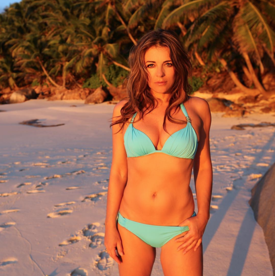 <p>Elizabeth Hurley, 53, shows off her bod in a sexy turquoise bikini set. (Photo: Instagram/Elizabeth Hurley) </p>