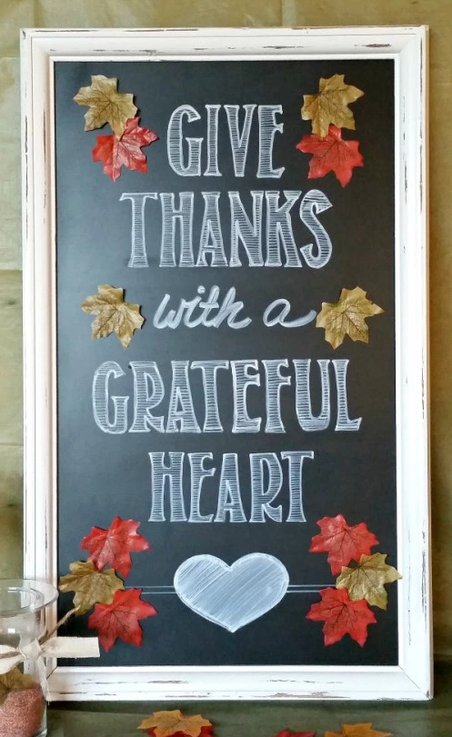 "<p>Welcome your Thanksgiving guests with this handmade sign. </p><p><strong>Get the tutorial at <a href=""http://mypinterventures.com/fall-give-thanks-chalkboard-sign/"" rel=""nofollow noopener"" target=""_blank"" data-ylk=""slk:My Pinterventures"" class=""link rapid-noclick-resp"">My Pinterventures</a>.</strong></p>"