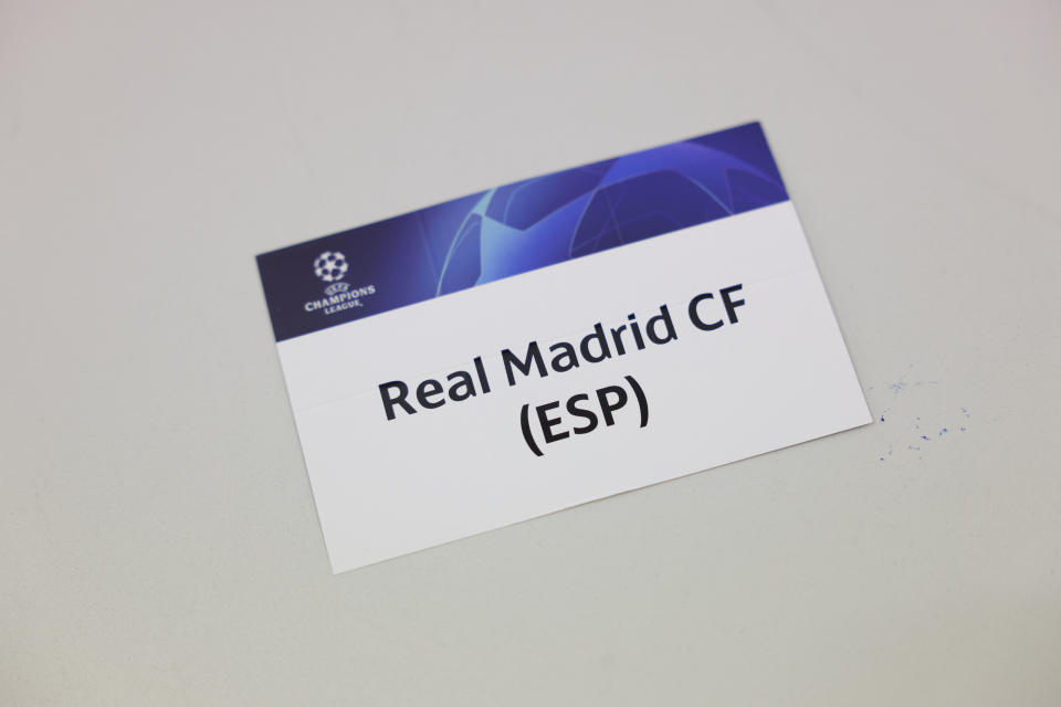 NYON, SWITZERLAND - MARCH 19: The Real Madrid CF card during the UEFA Champions League 2020/21 Quarter-finals and Semi-finals draw at the UEFA headquarters, The House of European Football on March 19, 2021 in Nyon, Switzerland. (Photo by Valentin Flauraud - UEFA)