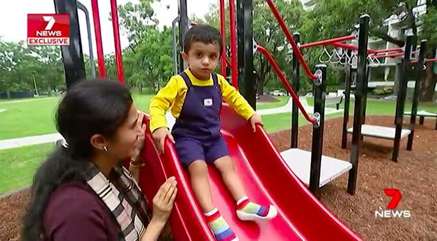 Karthik's parents are encouraging him to learn without the use of computers or tablets. Source: 7 News