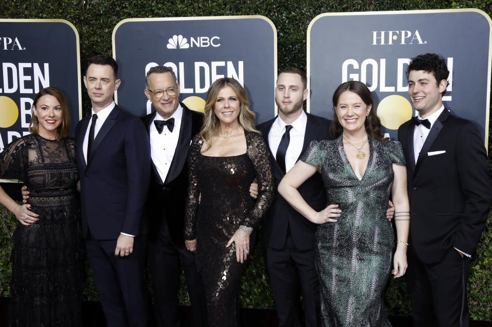 LOS ANGELES, CALIFORNIA, UNITED STATES - JANUARY 5, 2020 -                          Samantha Bryant, Colin Hanks, Rita Wilson, Tom Hanks, Elizabeth Ann Hanks, Chet Hanks and Truman Theodore Hanks photographed on the red carpet of the 77th Annual Golden Globe Awards at The Beverly Hilton Hotel on January 05, 2020 in Beverly Hills, California.- PHOTOGRAPH BY P. Lehman / Barcroft Media (Photo credit should read P. Lehman / Barcroft Media via Getty Images)