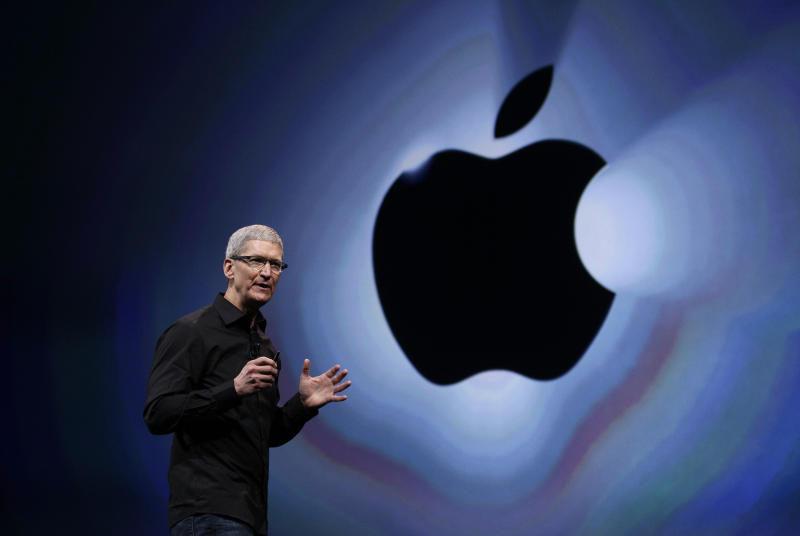 FILE - In  this Wednesday, Sept. 12, 2012, file photo, Apple CEO Tim Cook soeaks during an introduction of the new iPhone 5 in San Francisco. Cook got a relatively modest $4.2 million in pay for 2012, after the company's board set him up with stock now worth $510 million for taking the reins in 2011.  (AP Photo/Eric Risberg, File)
