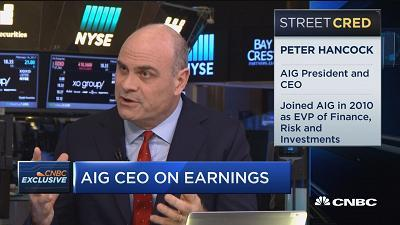 AIG CEO Peter Hancock discusses earnings, Berkshire Hathaway and interest rates.