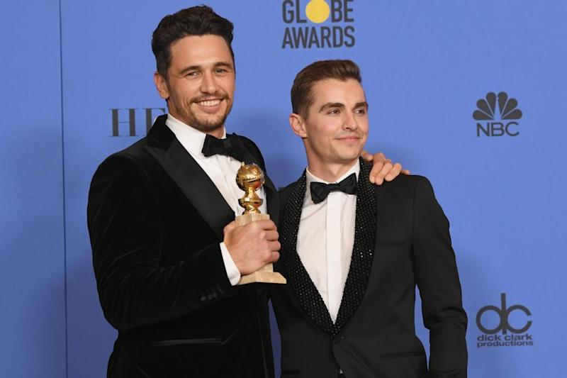 James Franco pictured at the Golden Globes with brother, Dave Franco. Source: Getty