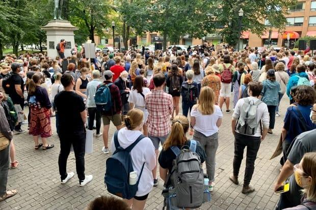 The number of students at Victoria Park grew quickly as the rally began. (Paul Palmeter/CBC - image credit)