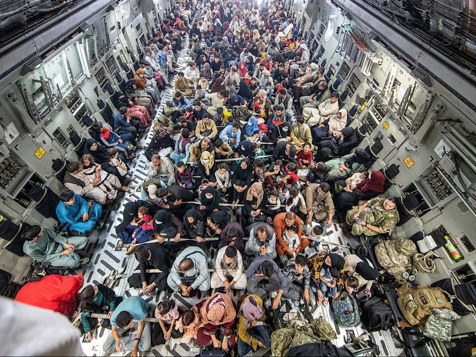 A full flight of 265 people are evacuated out of Kabul by the UK Armed Forces on 21 August (MoD Crown Copyright/Getty Images)
