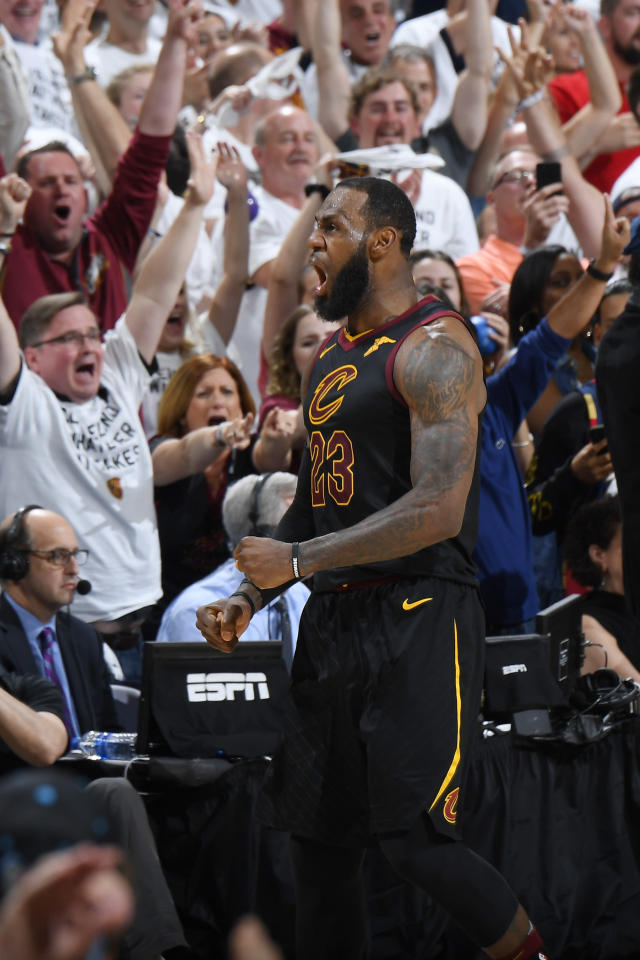 CLEVELAND, OH - MAY 25: LeBron James #23 of the Cleveland Cavaliers reacts against the Boston Celtics during Game Six of the Eastern Conference Finals of the 2018 NBA Playoffs on May 25, 2018 at Quicken Loans Arena in Cleveland, Ohio. (Photo by Brian Babineau/NBAE via Getty Images)