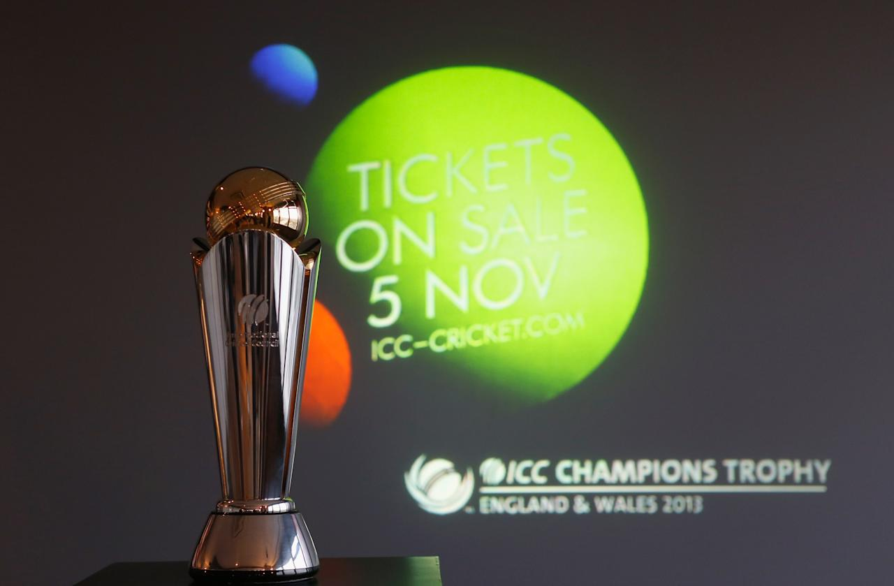 LONDON, ENGLAND - OCTOBER 17:  A shot of the trophy during the launch of the ICC Champions Trophy 2013 which is to be held in June 2013 in England and Wales, at Millbank Tower on October 17, 2012 in London, England.  (Photo by Tom Shaw/Getty Images)