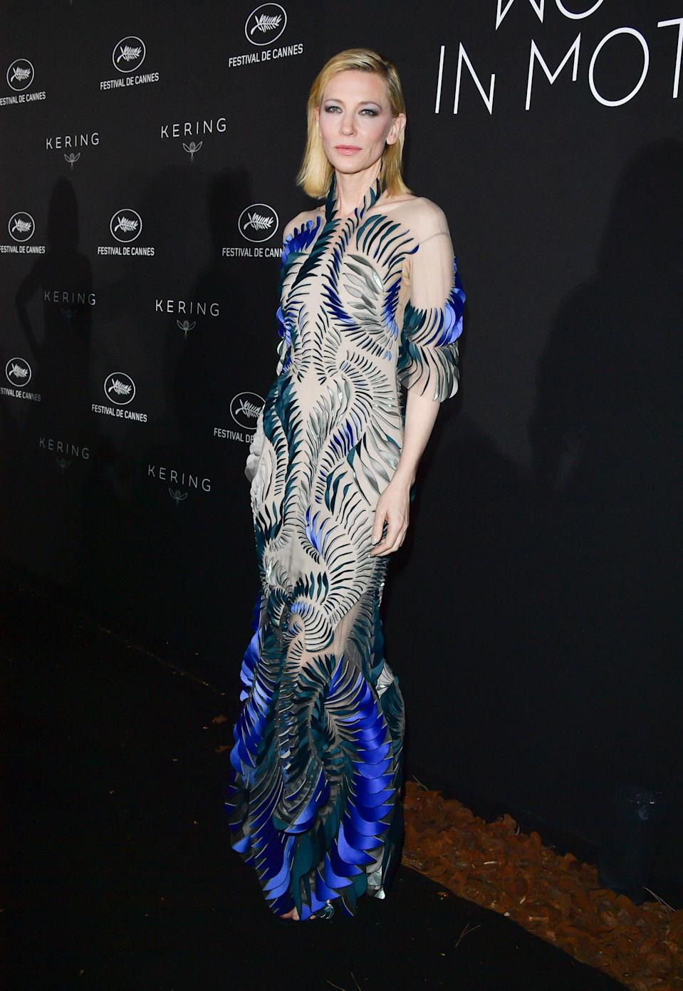 <p>At the Kering Women In Motion dinner, Cate Blanchett chose a daring dress with intricate shard detailing. Stunning. [Photo: Getty] </p>
