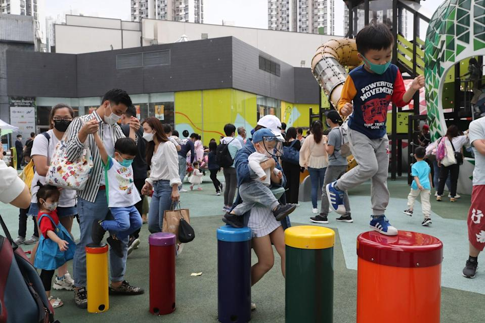 Children play at Fun Park at Metroplaza in Kwai Fong over the Easter holiday. Photo: Edmond So
