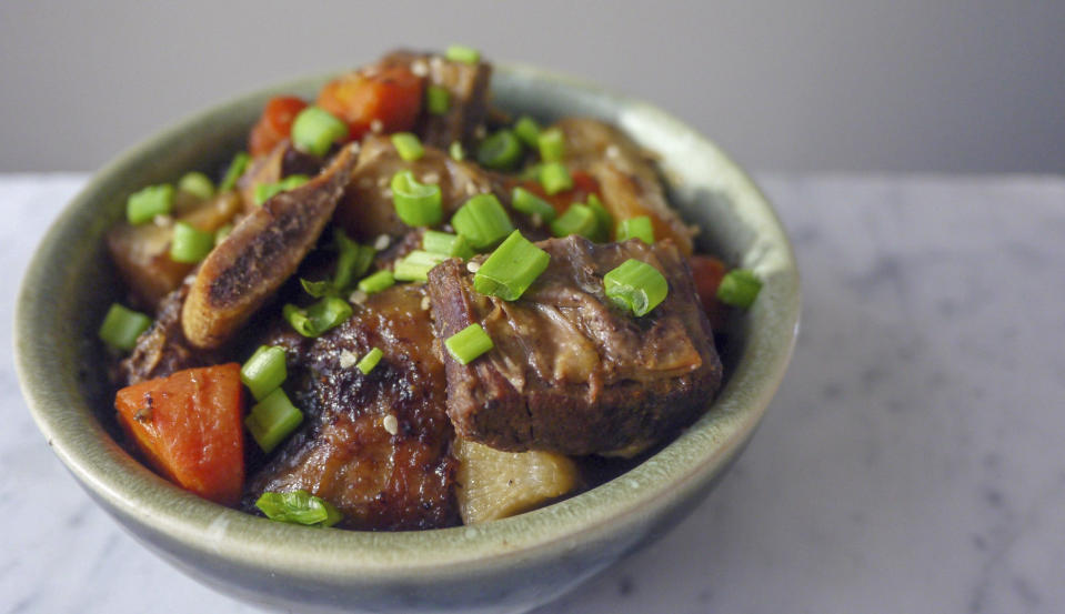 """<p>Fall is, without question, stew season and we love the idea of making something that pushes the boundaries of what beef stew should look or taste like. And while we love a classic beef stew, this <a href=""""https://www.foodandwine.com/recipes/short-rib-stew-caramelized-kimchi"""" rel=""""nofollow noopener"""" target=""""_blank"""" data-ylk=""""slk:short rib stew with caramelized kimchi"""" class=""""link rapid-noclick-resp"""">short rib stew with caramelized kimchi </a>from <em>Food & Wine</em> is on another level.</p> <p>Using a slightly fattier cut of beef like short ribs lends a more luxurious feel to the stew, while the Asian influence of soy sauce, Asian pear, sesame oil and nutrient-dense kimchi contributes a wonderful sweet and savoury flavour.</p> <p>For any stew, the recommended cookware is a Dutch oven, which you can use to sear your meat before transferring to the oven to slow cook. The <a href=""""https://www.canadiantire.ca/en/pdp/paderno-dutch-oven-red-6-5-qt-1423479p.html?utm_source=vrz&utm_medium=display&utm_campaign=10009368_21_CTS_JNJ_FALL&utm_content=10009368_21_CTS_JNJ_FALL_EN_VRZ_CONS_TR_CAN_UTM_1x1_Kitchen%20Cookware"""" rel=""""nofollow noopener"""" target=""""_blank"""" data-ylk=""""slk:Paderno Dutch Oven, 6.5-qt"""" class=""""link rapid-noclick-resp"""">Paderno Dutch Oven, 6.5-qt</a> is an ideal size for those cooking for a family of four.</p>"""