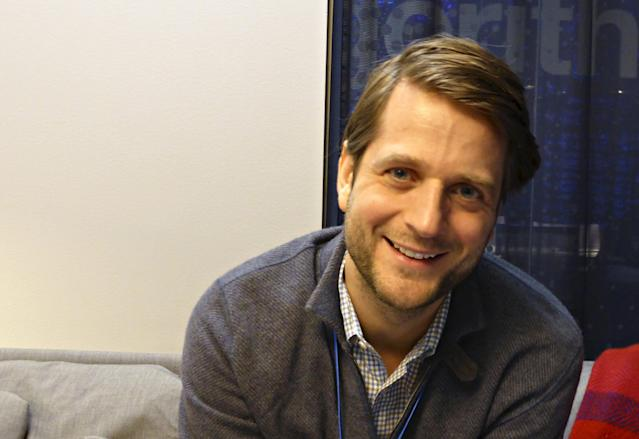Klarna CEO Sebastian Siemiakowski smiles in company's office in Stockholm, Sweden. (REUTERS/Mia Shanley)