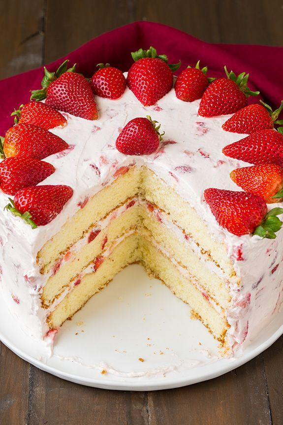 """<p>This cake is layered with fresh strawberries and frosted with an airy cream cheese topping. </p><p><strong>Get the recipe at <a href=""""http://www.cookingclassy.com/2015/05/fresh-strawberry-cake/"""" rel=""""nofollow noopener"""" target=""""_blank"""" data-ylk=""""slk:Cooking Classy"""" class=""""link rapid-noclick-resp"""">Cooking Classy</a>.</strong> </p>"""