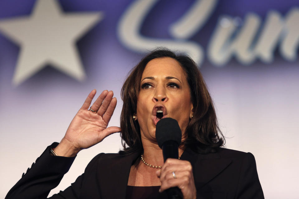 FILE - In this Oct. 4, 2019, file photo, Democratic presidential candidate Sen. Kamala Harris, D-Calif., speaks at the SEIU Unions For All Summit in Los Angeles. A battle is emerging between presidential candidates Elizabeth Warren and Harris for the support of black women, the Democratic Party's most loyal and consistent voters. (AP Photo/Ringo H.W. Chiu, File)
