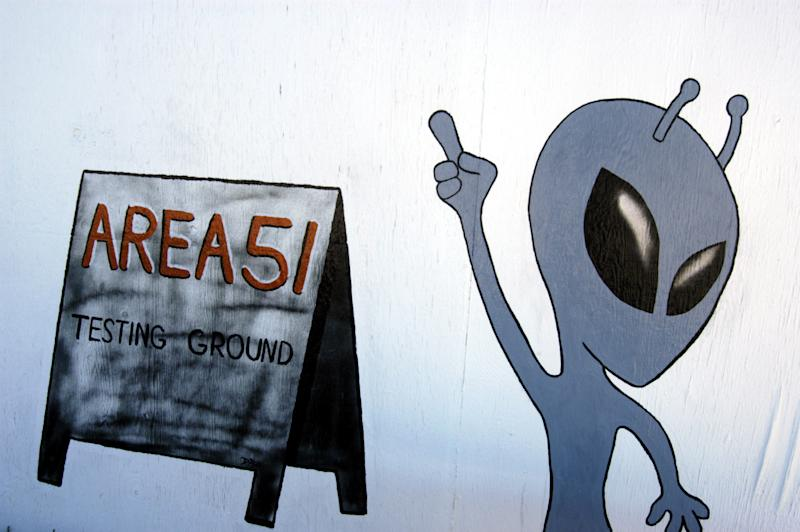 Alien sign at the Little Aleinn on the Exraterrestrial Highway (Highway 375) where Area 51 (Groom Lake, Dreamland) is located in Rachel, Nevada (Photo by Barry King/WireImage)