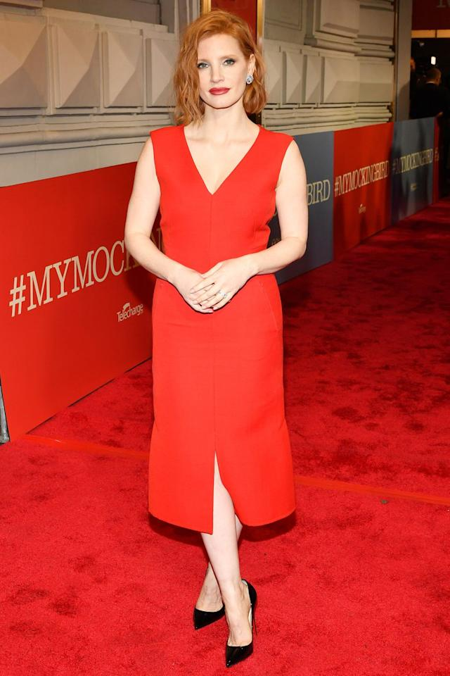 <p><strong>13 December </strong>Jessica Chastain chose a red dress and black court shoes for the launch of <em>To Kill A Mocking Bird</em> on Broadway.</p>