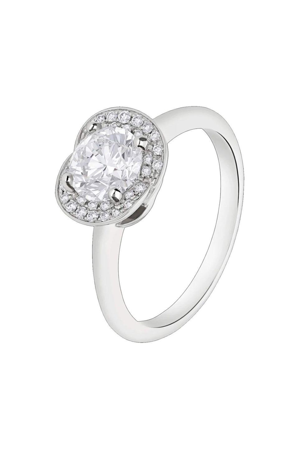 """<p><strong>Bvlgari</strong></p><p>bulgari.com</p><p><a href=""""https://www.bulgari.com/en-us/355409.html"""" rel=""""nofollow noopener"""" target=""""_blank"""" data-ylk=""""slk:Shop Now"""" class=""""link rapid-noclick-resp"""">Shop Now</a></p><p>Inspired by flowers, Bulgari surrounds its round brilliant-cut diamond with with a slightly raised halo.</p>"""