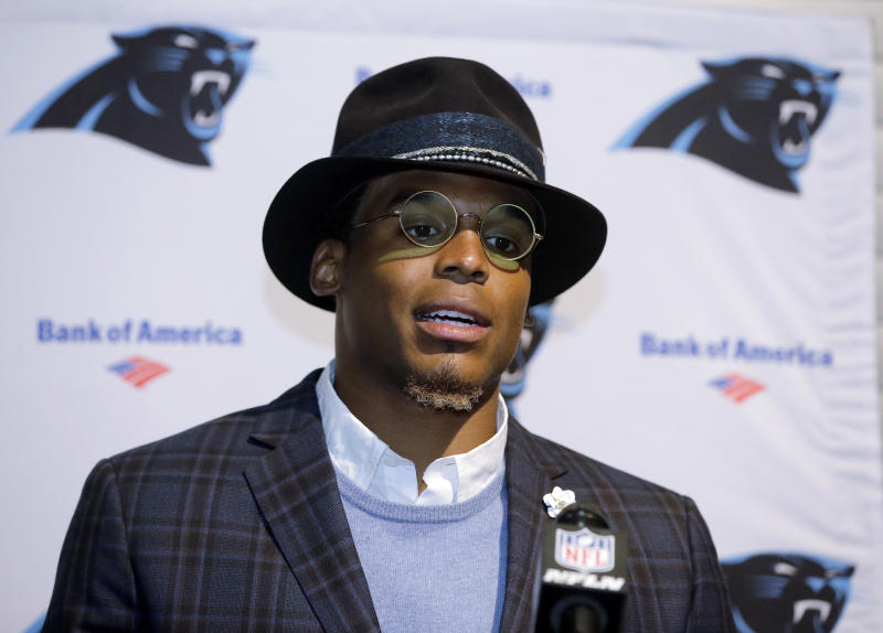 Carolina Panthers quarterback Cam Newton speaks to the media following a Week 4 game. (AP)