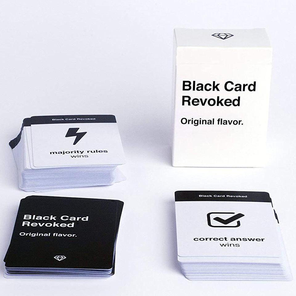 """<p><strong>Black Card Revoked</strong></p><p>amazon.com</p><p><strong>$15.95</strong></p><p><a href=""""https://www.amazon.com/dp/B014YZHW4S?tag=syn-yahoo-20&ascsubtag=%5Bartid%7C2089.g.985%5Bsrc%7Cyahoo-us"""" rel=""""nofollow noopener"""" target=""""_blank"""" data-ylk=""""slk:Shop Now"""" class=""""link rapid-noclick-resp"""">Shop Now</a></p><p>This nostalgia-packed trivia game celebrates Black popular culture with hilarious question-and-answer cards that'll get the whole family debating. </p><p>From easy fact-based cards like, """"How many fights did Will Smith get into before his mom got scared?"""" to conversation-starting topics like, """"Who are the top three rappers of all time?"""" there is a good mix of questions that anyone at the table can answer.</p>"""