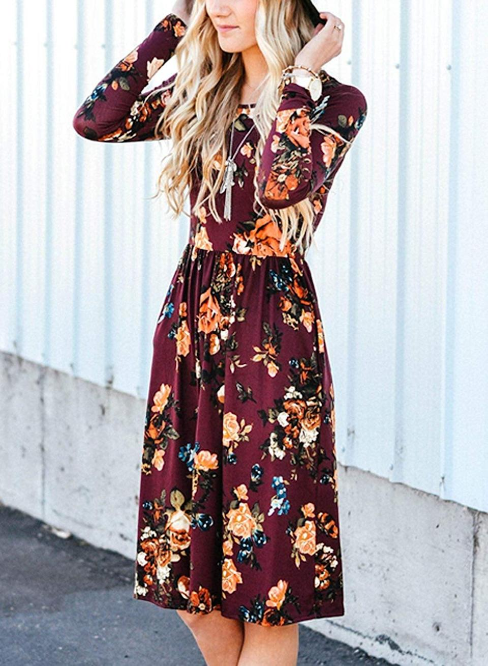 <p>This <span>Zesica Long-Sleeved Floral Dress</span> ($30) is one of the bestselling pieces on the site.</p>