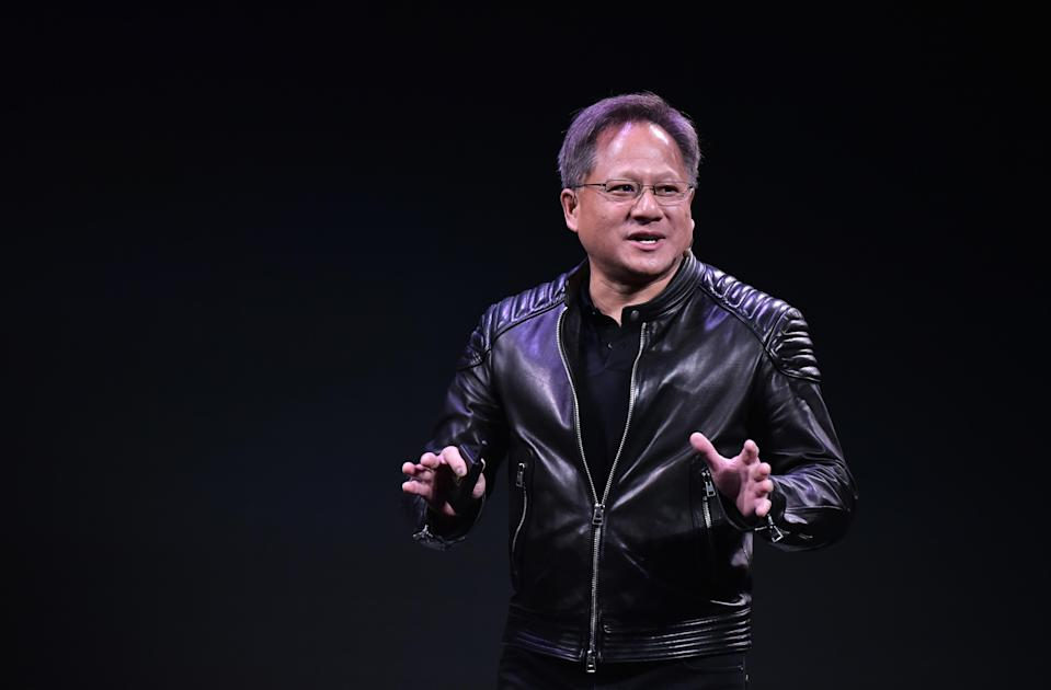 Nvidia CEO Jensen Huang speaks during a press conference at The MGM during CES 2018 in Las Vegas on January 7, 2018. (Photo by Mandel Ngan / AFP) (Photo credit should read MANDEL NGAN/AFP/Getty Images)